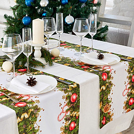 Скатерти Сирень Дорожка на стол Новогодние украшения, 40*140
