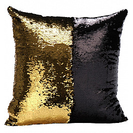 Декоративная подушка Twinklbaby Подушка переводная из пайеток Magic Shine, черное золото, 40*40 см