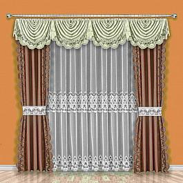 Шторы для комнаты Wisan Комплект штор №189W, коричневый, бежевый комплект штор wisan цвет коричневый высота 250 см 030w
