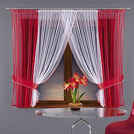 Комплект штор для кухни №5882-02, красный, белый Wisan