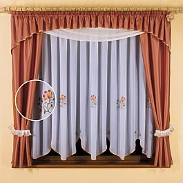 Шторы для кухни Wisan Комплект штор для кухни №5663, терракотовый, белый