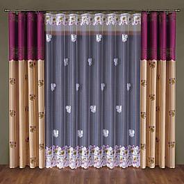 Шторы для комнаты Wisan Комплект штор №014W, бордовый, кремовый цена
