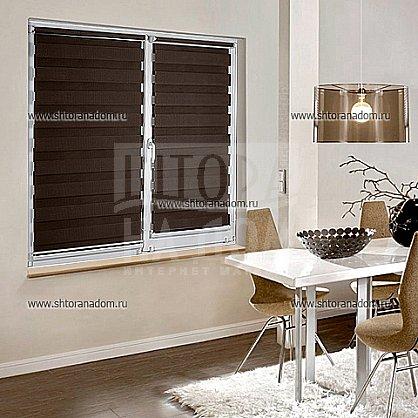 """Рулонная штора """"День-ночь Темно-коричневый"""" (406-gr), фото 4"""
