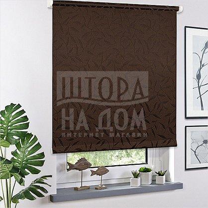 "Рулонная штора ролло ""Сантайм Жаккард Оливия Шоколад"", ширина 120 см (03-8261-120), фото 1"