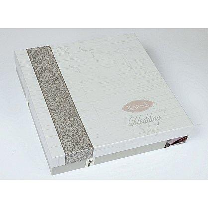 "Комплект из 2-х махровых полотенец c гипюром ""KARNA ELINDA"" в коробке (50*90; 70*140), пудра (kr-1826-CHAR004), фото 2"