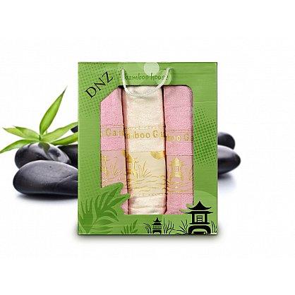 Комплект полотенец Bamboo (50*90 - 2 шт; 70*140 - 1 шт), Белый, Розовый (tg-8129-08), фото 1