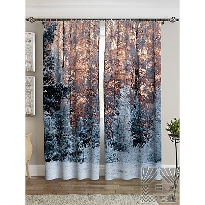 Фотошторы Вечерний лес, белый, 260 см (235325-t), фото 2