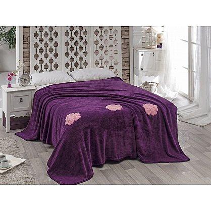 """Покрывало вельсофт с вышивкой """"KARNA ROSE"""", фиолетовый, 200*220 см-A (kr-2008-CHAR006-A), фото 1"""