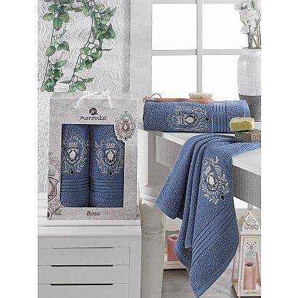 Комплект махровых полотенец MERZUKA BOSS (50*80; 70*130), темно-голубой (mt-103531), фото 1