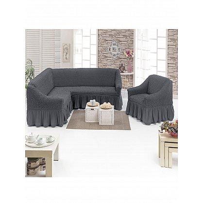 Набор чехлов для углового дивана и кресла JUANNA 3+1, антрацит (mt-103502), фото 1