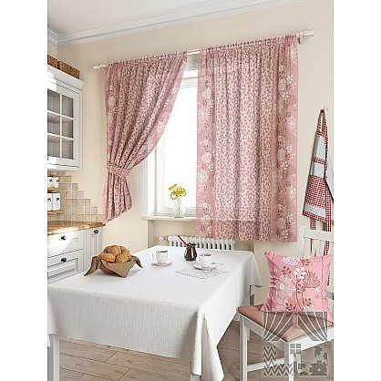 Комплект штор для кухни Фишт (розовый), 180 см (235476-t), фото 1