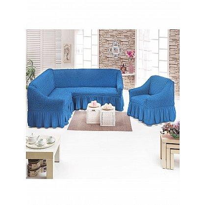 Набор чехлов для углового дивана и кресла JUANNA 3+1, голубой (mt-103499), фото 1