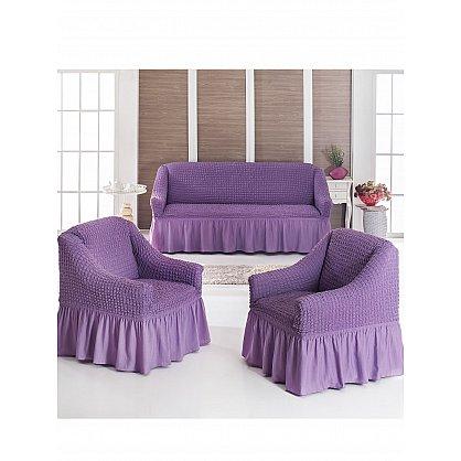 """Набор чехлов для дивана и кресел """"JUANNA"""" 3+1+1, лиловый (mt-101961), фото 1"""