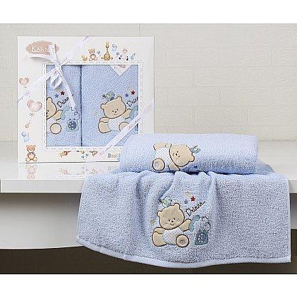 """Комплект полотенец детский """"KARNA BAMBINO-BEAR"""" (50*70; 70*120), голубой (kr-2130-CHAR001), фото 1"""