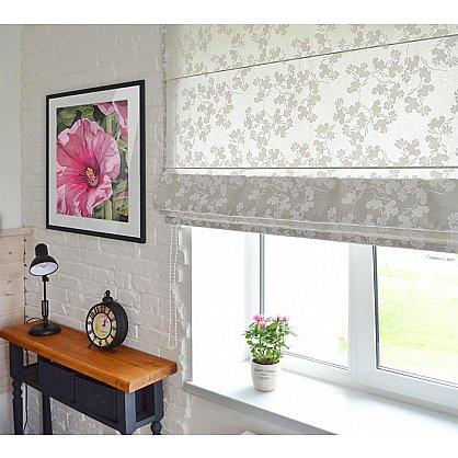 """Римская штора """"Лира рисунок цветы, Белый"""", ширина 43 см (110-001-44(43)), фото 1"""