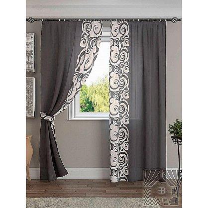 """Комплект штор """"Хенди"""", серо-черный, 280 см (233564-t), фото 1"""