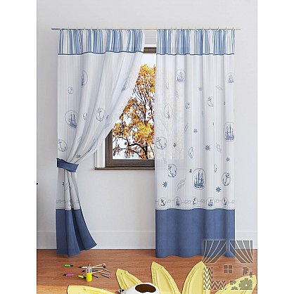 """Комплект штор """"Вертан"""", белый, синий, 280 см (233543-t), фото 2"""