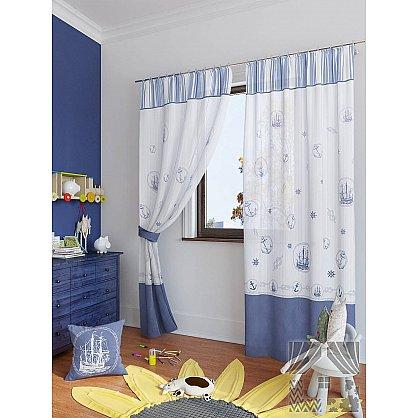 """Комплект штор """"Вертан"""", белый, синий, 280 см (233543-t), фото 1"""