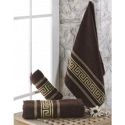 """Полотенце махровое с жаккардом """"KARNA ITEKA"""", коричневый, 90*150 см (kr-103027), фото 1"""