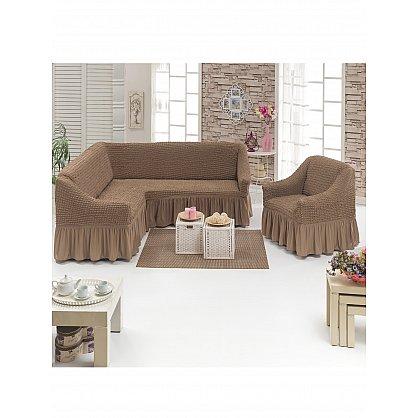 """Набор чехлов для углового дивана и кресла """"DO&CO"""" 3+1, серо-коричневый (mt-102017), фото 1"""