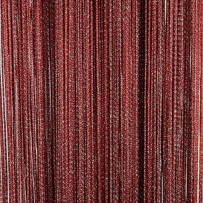 Кисея нитяная штора на кулиске серебро- Бордовая (L-158), фото 1