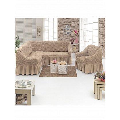 Набор чехлов для углового дивана и кресла JUANNA 3+1, песочный (mt-102714), фото 1