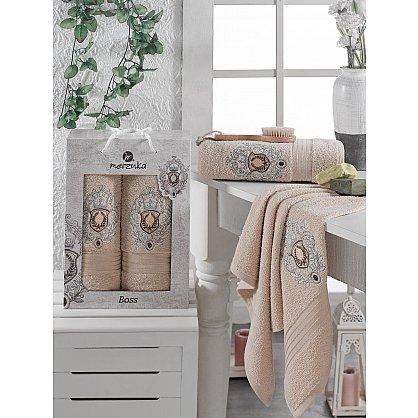 Комплект махровых полотенец MERZUKA BOSS (50*80; 70*130), бежевый (mt-103536), фото 1