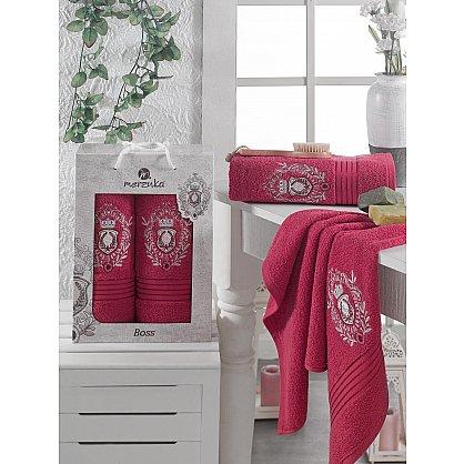 Комплект махровых полотенец MERZUKA BOSS (50*80; 70*130), бордовый (mt-103537), фото 1
