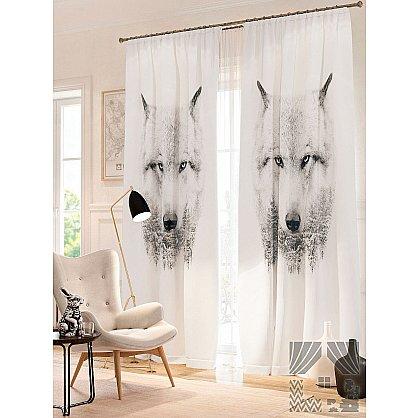 Фотошторы Волк, белый, серый, 260 см (235354-t), фото 1