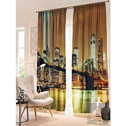 Фотошторы Вечерний Бруклинский мост, мультиколор, 260 см (235365-t), фото 1