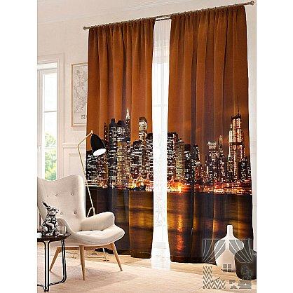 Фотошторы Ночной Нью-Йорк, коричневый, золотой, 260 см (235447-t), фото 1