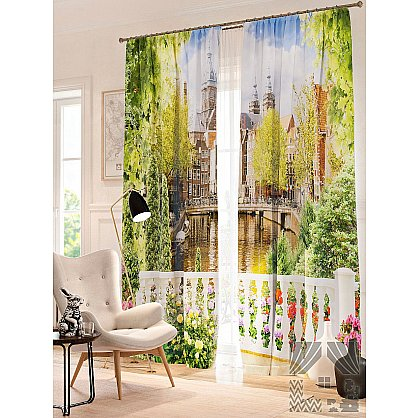 Фотошторы Балкон с цветами, зеленый, белый, 260 см (235451-t), фото 1