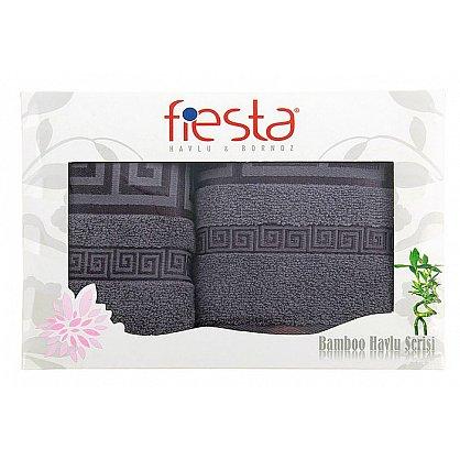 """Набор полотенец """"Versace cotton"""", серый, 2 шт. (F-versace-cott-seri), фото 1"""