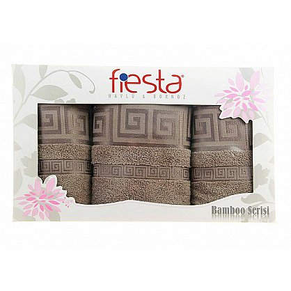 """Набор полотенец """"Versace cotton"""", бежевый, 3 шт. (F-versace-cott-bezev3), фото 1"""
