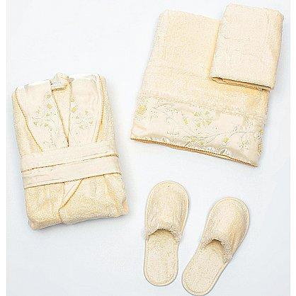 Подарочный набор женский шампань - халат махровый, полотенце 90х150 см, полотенце 50х90 см, тапочки (2000000001456-sh), фото 1