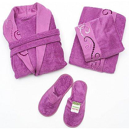 Подарочный набор женский фуксия - халат махровый, полотенце 90х150 см, полотенце 50х90 см, тапочки (2000000001456-f), фото 1