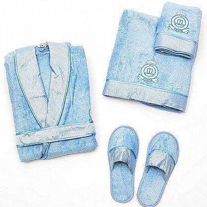 Подарочный набор женский голубой - халат махровый, полотенце 90х150 см, полотенце 50х90 см, тапочки (2000000001456-g), фото 1
