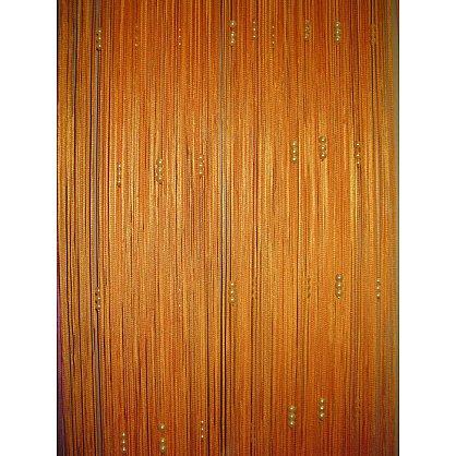 Кисея нитяная штора на кулиске с жемчугом - Оранжевая (Zh-263), фото 1