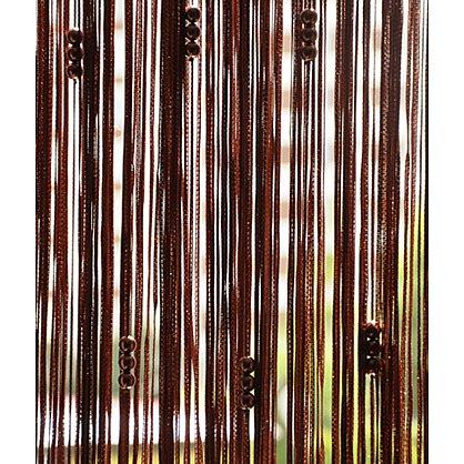 Кисея нитяная штора на кулиске с жемчугом - Коричневая (Zh-268), фото 1