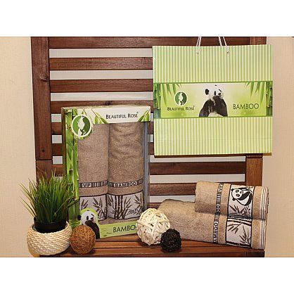 Комплект полотенец Rose Бамбук Panda в коробке (50*90; 70*140), бежевый (mt-100501), фото 1