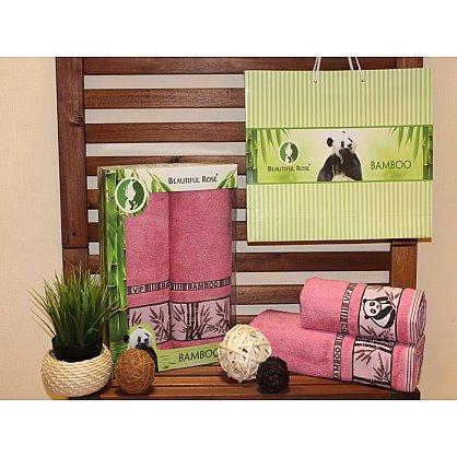 Комплект полотенец Rose Бамбук Panda в коробке (50*90; 70*140), розовый (mt-100496), фото 1