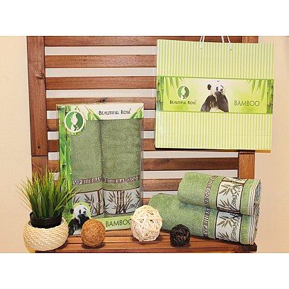 Комплект полотенец Rose Бамбук Panda в коробке (50*90; 70*140), зеленый (mt-100500), фото 1