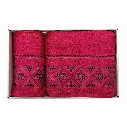 "Набор полотенец ""Damask"", темно-розовый, 2 шт. (F-Damask-trozov), фото 1"