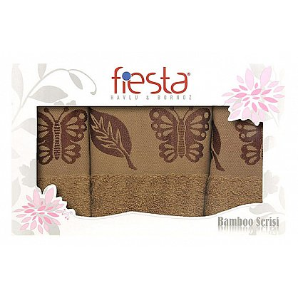 """Набор полотенец """"Butterfly cotton"""", коричневый, 3 шт. (F-butterfly-cott-kor3), фото 1"""