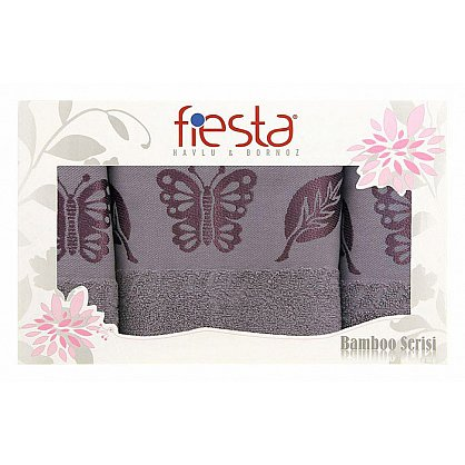 """Набор полотенец """"Butterfly cotton"""", серый, 3 шт. (F-butterfly-cott-seri3), фото 1"""