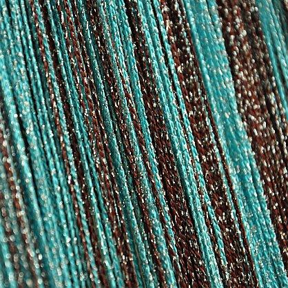 Кисея нитяная штора на кулиске радуга с люрексом - Коричневая/голубая (RL-8-201), фото 1
