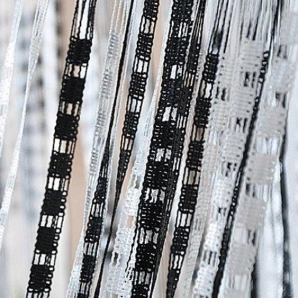 Кисея нитяная штора на кулиске Полоса - белая, черная (PL-1-9), фото 1