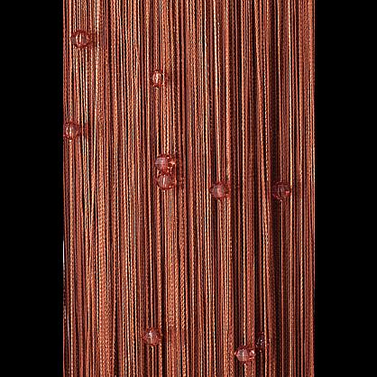 Кисея нитяная штора на кулиске однотонная с камнями - Коричневая (Ok-8), фото 1