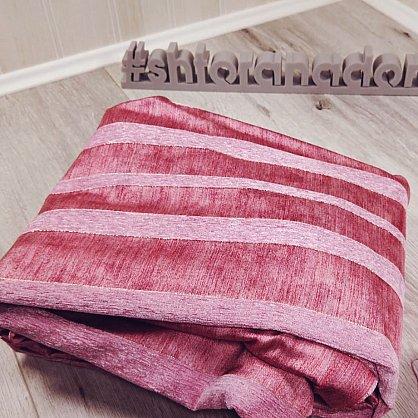 Комплект штор №103 Вензель-Брусничный с розовой шиниловой полосой (rt-103004), фото 2