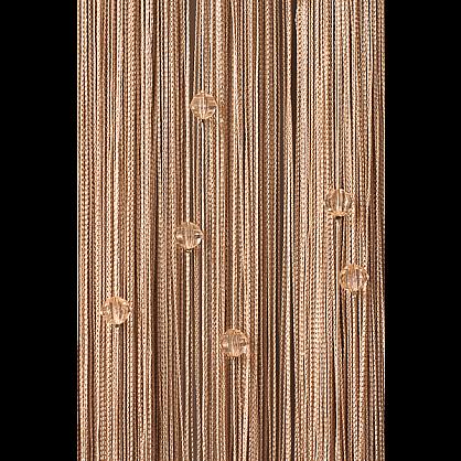 Кисея нитяная штора на кулиске однотонная с камнями - Бежевая (Ok-14), фото 1